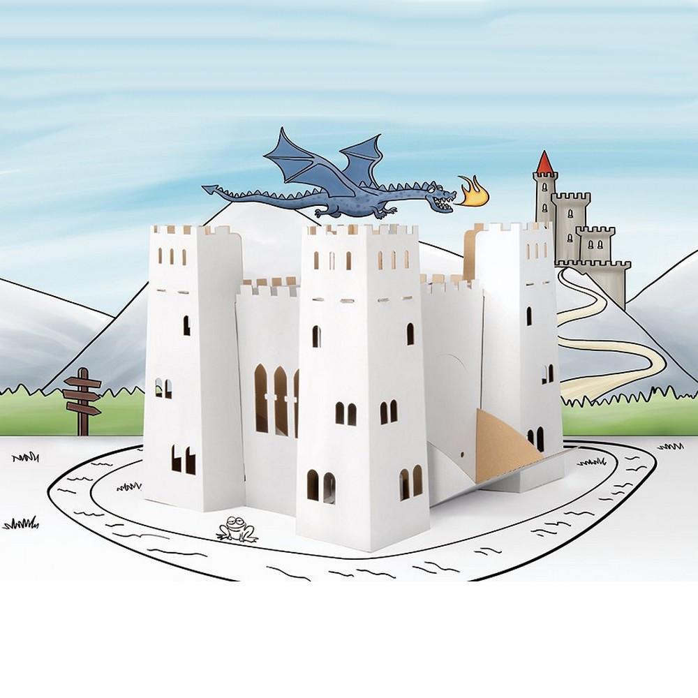 Bien connu Chateau fort en carton, a construire colorier décorer maison  SO78