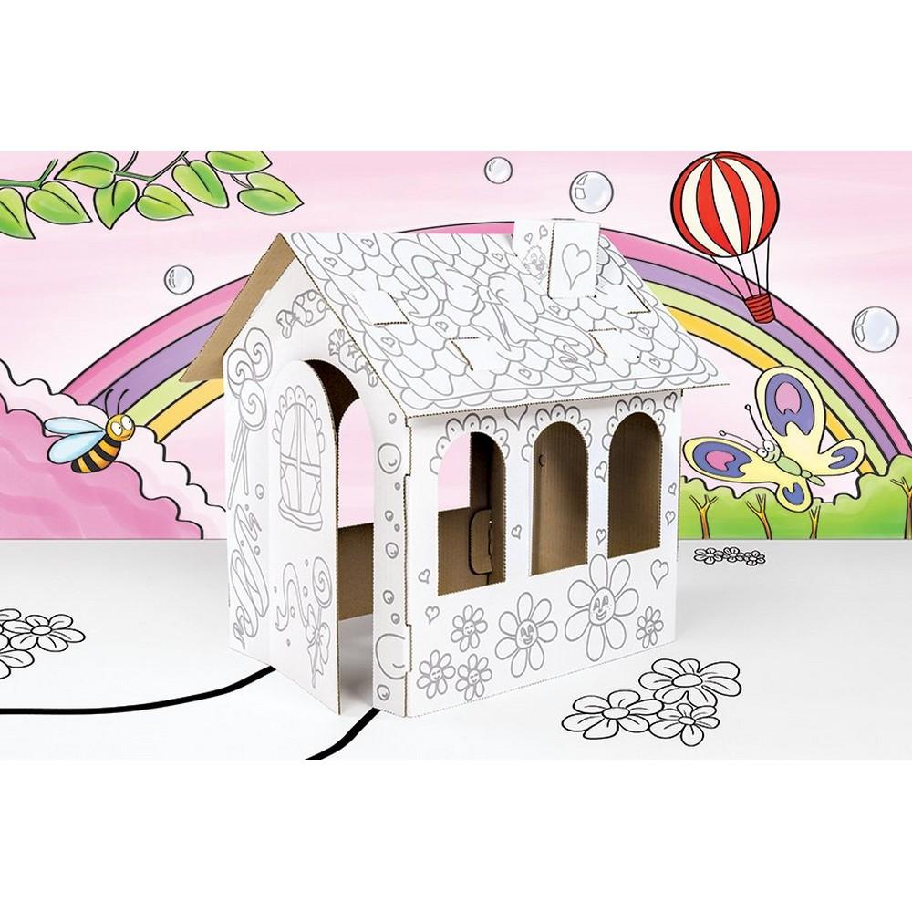 Maison De Poupée En Carton A Construire, Décorer Colorier Peindre