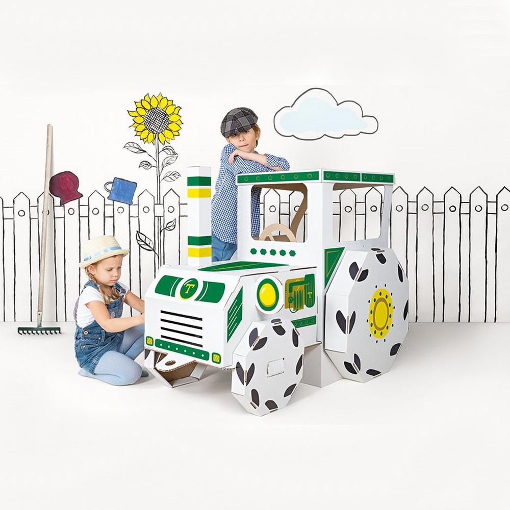 grand tracteur en carton a construire dessiner colorier. Black Bedroom Furniture Sets. Home Design Ideas
