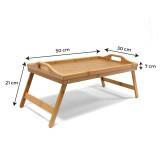 Plateau de lit en bois bambou table laque 50x30x21cm