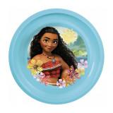 Assiette plastique plate Vaiana bleu repas enfant