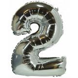 Ballon hélium géant 80 cm chiffre 2 argent