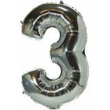 Ballon hélium géant 80 cm chiffre 3 argent