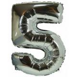 Ballon hélium géant 80 cm chiffre 5 argent