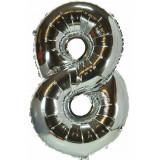 Ballon hélium géant 80 cm chiffre 8 argent