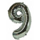 Ballon hélium géant 80 cm chiffre 9 argent