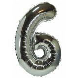 Ballon hélium géant 80 cm chiffre 6 argent
