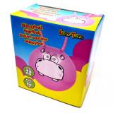Ballon sauteur Hippo rose pogo enfant balle rebondissante