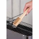 Brosse barbecue poignée en bois poils en acier inoxydable