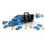 Grand camion avec 6 voiture police jouet helicoptere