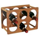 Casier 6 bouteille en bambou bois range vin etagere rangement