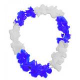 Collier à fleur hawaïen Hawaï bleu/blanc