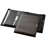 Conferencier Marque Balmain porte document bloc note carte stylo A4 Marron