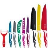 Coffret de 8 couteaux de cuisine en acier inoxydable eplucheur en ceramique econome