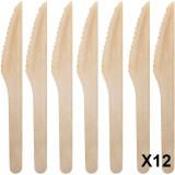Lot de 12 couteau en bambou bois ecologique