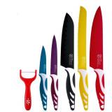 Coffret de 5 couteaux de cuisine en acier inoxydable eplucheur en ceramique econome