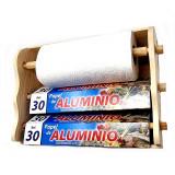 Distributeur mural bois rouleau papier sopalin aluminium cuisine CL