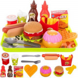 Dinette fast food hamburger frite hot dog plateau jouet marchand