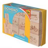 Boite de 12 dominos en bois voiture velo jouet
