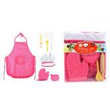 Ensemble de cuisine enfant gant tablier toque fouet rouleau cuillere patisserie bois rose