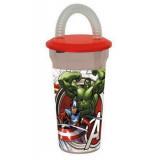 Gobelet avec paille Avengers verre plastique Casa GRIS
