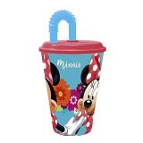 Gobelet avec paille Princesse Minnie verre plastique Disney fleur