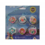 Lot de 6 gomme Reine des Neiges Disney enfant Frozen