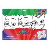 6 Grands dessin PJ Masks coloriage Disney 6 feutres