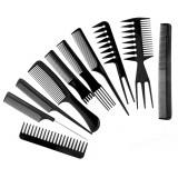 Lot de 10 peigne à cheveux en plastique etui de rangement coiffure