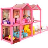 Maison de poupee 2 etages 6 pieces terrasse jouet fille