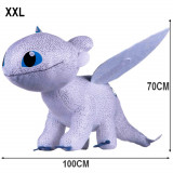Geante !!! Peluche Furie Nocturne 70/100 cm Dragon 3 Blanc Krokmou