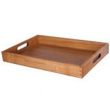 Plateau petit dejeuner en bois 45x30x5cm poignee rectangle