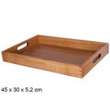 Plateau de service en bois 45x30x5cm poignee rectangle