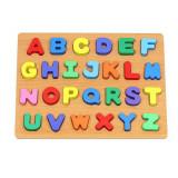 Puzzle bouton en bois Alphabet 26 lettre pièces enfant bébé