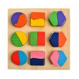 Puzzle en bois 18 pieces forme et couleur carré rond enfant bébé