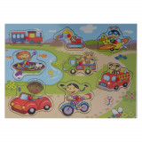 Puzzle bouton en bois Les Véhicules 8 pièces bébé