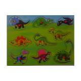 Puzzle bouton en bois Dinosaure 9 pièces bébé