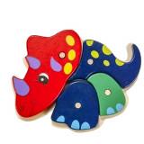 Puzzle en bois dinosaure bebe enfant 4 piece triceratops