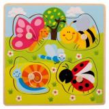 Puzzle en bois ecologique bebe enfant 4 piece insecte