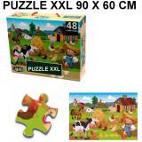 Puzzle geant 48 pieces La Ferme Poule Cochon Vache piece XL 60 x 90 cm
