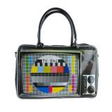Sac TV mire Rétro vintage Noir Anses bandoulière Fermeture zip Wanted Sac a main, de cours, de voyage télé