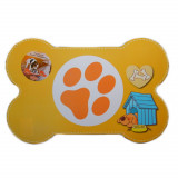 Set de table pour chien, tapis gamelle, protection sol repas orange