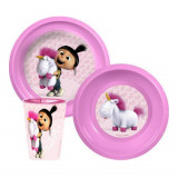 Set dejeuner Les minions assiette verre repas enfant Disney rose