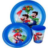 Set repas Mario Bross gobelet assiette verre réutilisable bleu