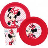 Set 3 pièces Minnie assiette verre plastique raye