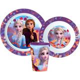 Set repas La Reine des Neiges 2 Micro onde plastique gobelet assiette verre