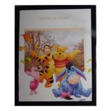 Tableau Winnie l'Ourson, Porcinet, Tigrou et bourriquet  20 x 25 cm Disney cadre feuille rect