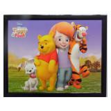Tableau Winnie l'Ourson, Buster, Tigrou fille 20 x 25 cm Disney cadre rect