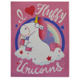 Tapis enfant Licorne 125 x 95 cm chambre rose unicorn