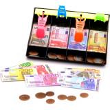 Tiroir caisse 120 pièces et billets factices argent dinette marchand jouet enfant